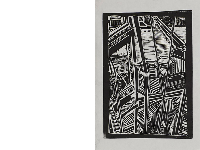view from the shard. lino cut, black : photography robin brigham