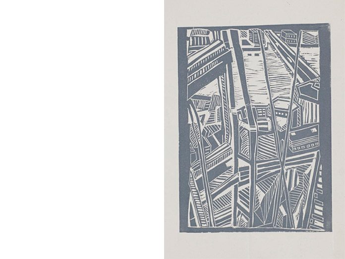 view from the shard. Lino cut, grey : photography robin brigham