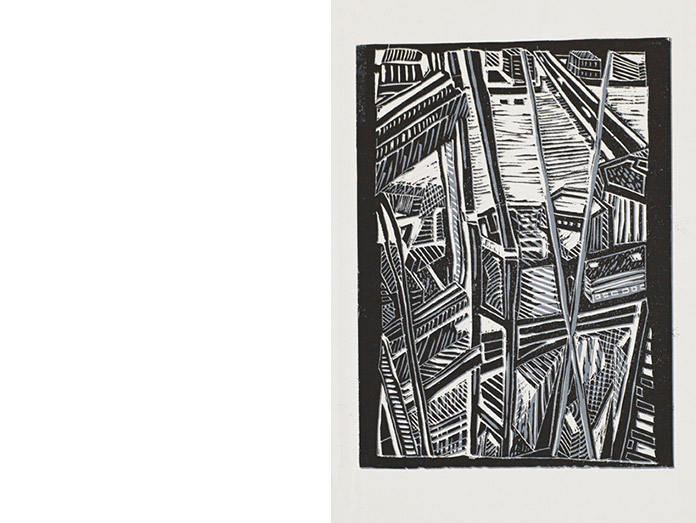 iew from the shard. lino cut, black/grey : photography robin brigham