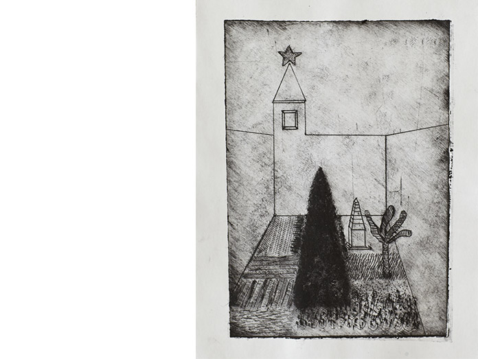 the christmas garden. drypoint and chine-colle : photography robin brigham