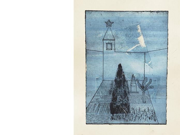 the blue dawn christmas garden. drypoint and chine-colle : photography robin brigham