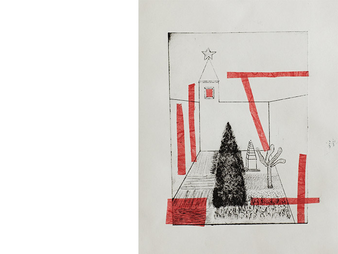 cubist christmas garden. drypoint and chine-colle : photography robin brigham